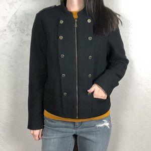 H&M Black Wool Military Style Coat